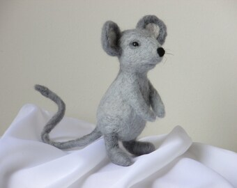 Grey needle felted mouse