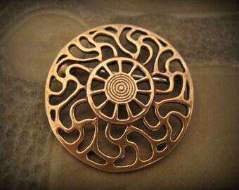 Bronze Prussian Sun symbol brooch