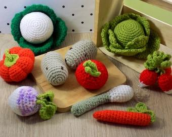 Toy for children. Basket of vegetables. Handmade crochet amigurumi