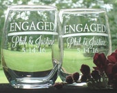 Engagement Gift for Couple Pair of Engaged Personalized 13 oz stemless wine glasses | Engaged Couple Gift | Engaged Wine Glasses