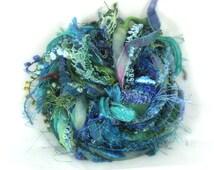 Caribbean Blue Elements Mixed Yarn Pack 26yd Specialty Ribbon Embellishment Trim Fiber Art Bundle, Teal Turquoise Aqua, Buy Any 6 Get 1 Free