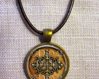 Papa Legba Veve Pendant in Bronze setting with Cord