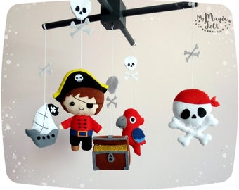 Baby mobile pirate Baby boy mobile pirates Nursery mobile treasure Island Baby mobile Adventure nursery mobile pirates decorations