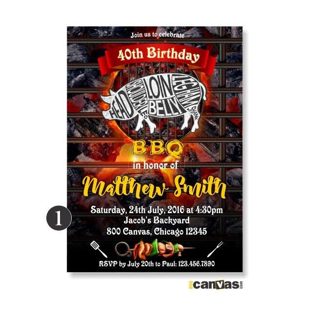 BBQ Birthday Invitation Backyard BBQ Invite Summer Barbecue