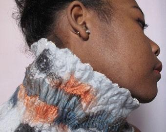 Shibori choker scarf, nuno felt