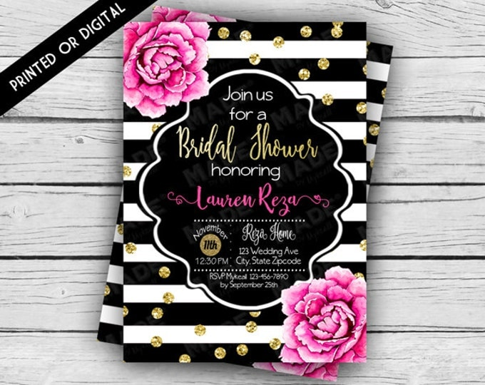 Printed - PINK PEONIES BRIDAL Shower Invitation, Wedding, Bride, Couples Shower, Printed Invitations, Digital Download, Stationery