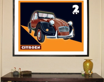 "1960 Citroen 2CV 24""w x 30""h Giclee"