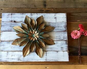 Gold flower bloom reclaimed wood art