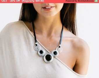 Statement  necklace, black leather necklace, silver necklace, wrapped black stones, silver beads, stylish necklace, charm necklace, bib.