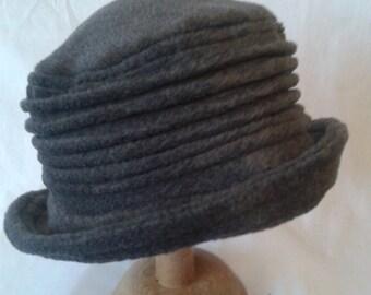 Grey fleece handmade cloche hat