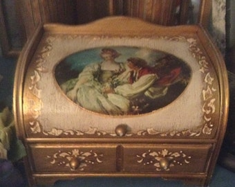 Antique Gold Florentine Jewelry Box Courting Couple Fragonard Picture Working Music Box