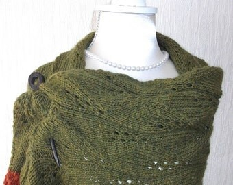 Hand Knitted shawl with wooden shawl pin