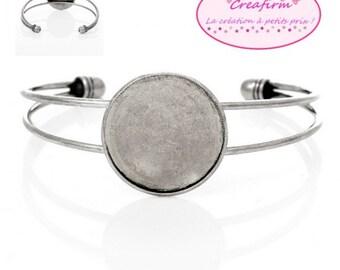 3 bracelet matte Cabochon 25mm silver