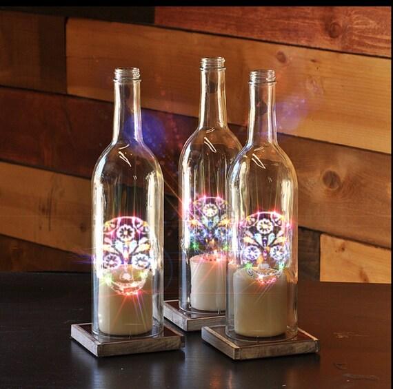 Sugar Skull etched Wine Bottle Candle by CustomCrystalGlassDe