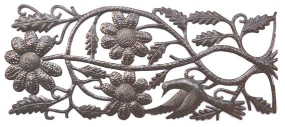 "Floral Decor, Recycled Metal Art, Handmade in Haiti  7"" X 17.5"""