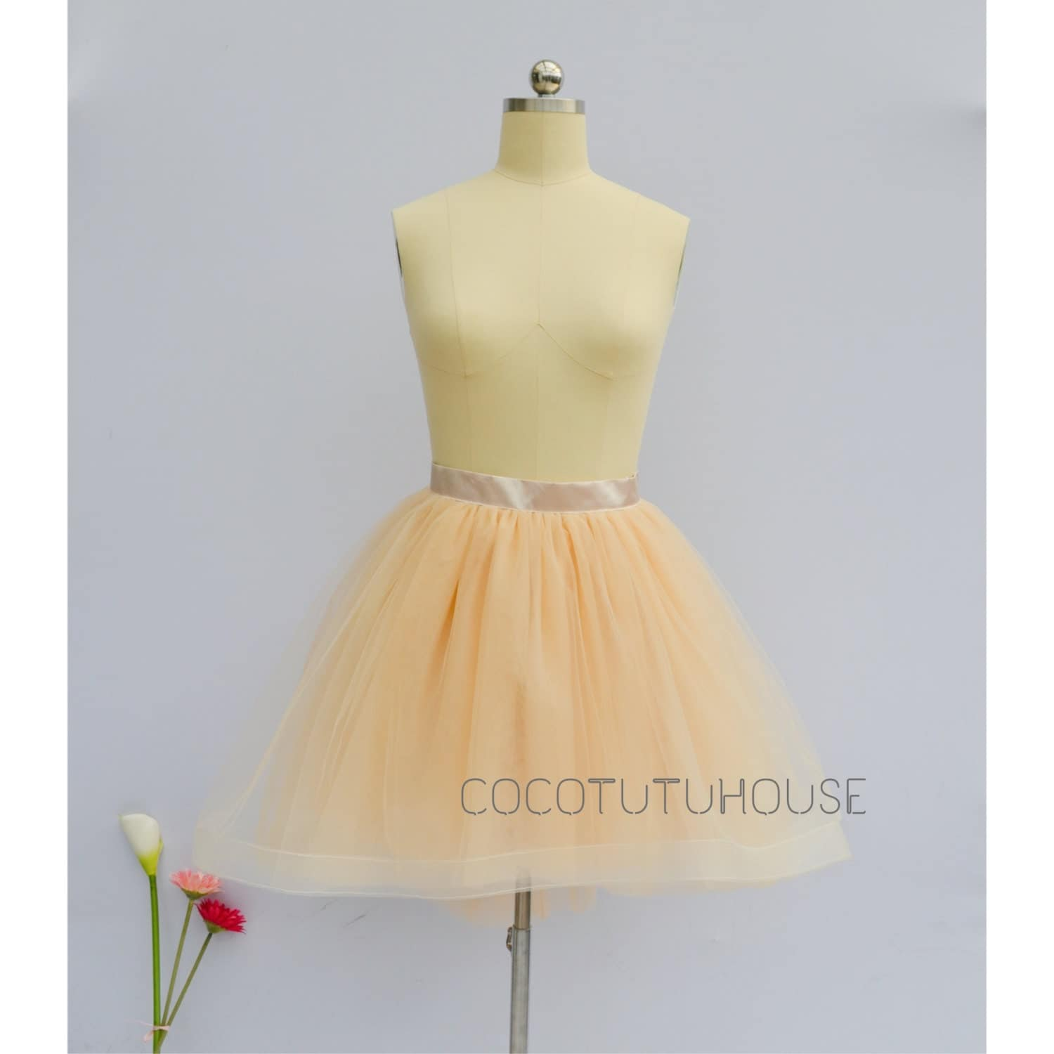 light chagne hi low tulle skirt by