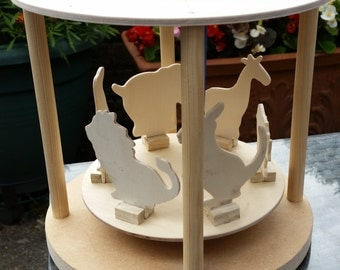 Solar Powered wooden model Roundabout - made to order!