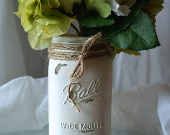 1 - 32oz (Qt) SOFT WHITE Mason Jar