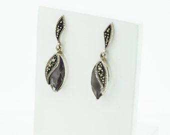 Silver Amethyst and Marcasite earrings  SKU693