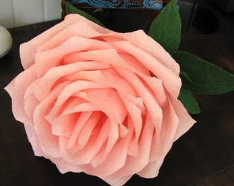 "Giant 9"" pink paper rose, Giant flower, Giant paper flower, Bridal bouquet, Wedding bouquet large rose, Wedding decor big rose, Centerpiece"