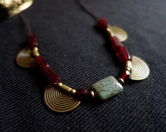 Ethnic necklace, stone of Chrysoprase, Garnet