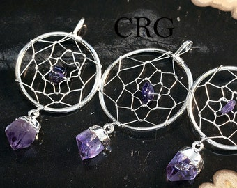 Silver Plated Dream Catcher Pendant with Amethyst Point (DC6BT)