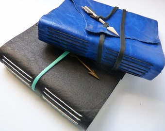 SALE! Small Leather Journal With White Pages and Arrow Closure