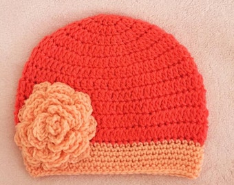 Girls/Ladies Crochet Beanie with Thick Band and Large Crochet Rose