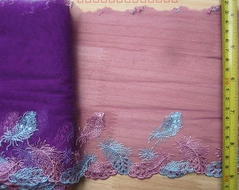 2 Yards Lace Trim Floral Embroidered Purple red Tulle Lace 7.08 Inches Wide High Quality YL450