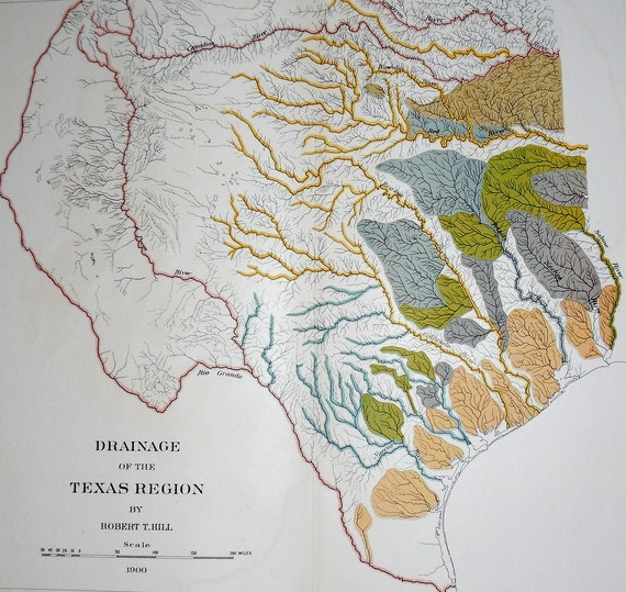 Texas Antique Map Rivers Draining The Texas Region TX - World map rio grande river