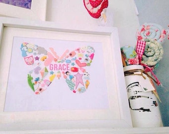 Personalised butterfly framed picture made from stickers