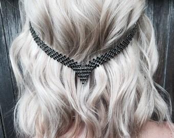 Hippie head chain, Hair chain accessory, Tribal hair chain jewelry, black  jewelry, boho head chain. Coachella limited addition hair chain