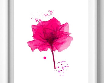 Red flower print,painting,watercolor,home decor,wall art,Pic No 106