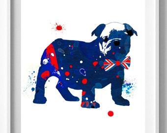 English Bulldog Print,Painting,Sillouette,Nursery,Children Art [No 99]