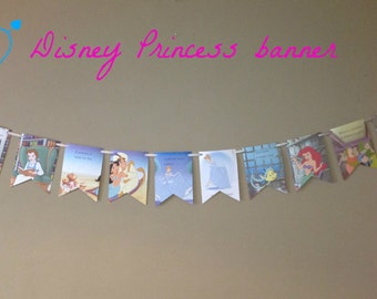 DISNEY PRINCESS BANNER book page bunting garland decoration