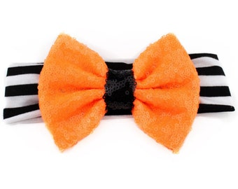 Sequin Hair Bow, Sequin Headband, Sequin Bow Headband, Halloween Headband, Halloween Bow, Orange Sequin Bow, Black Sequin Bow, Toddler