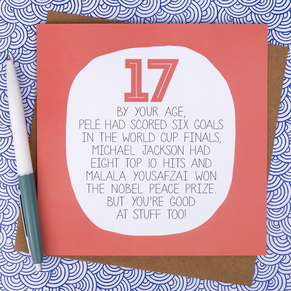17th Birthday Card Funny birthday card funny 17th birthday