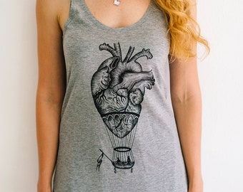 anatomical heart tank top for woman, women's tank top, hot air balloon, yoga tank top, steampunk clothing, anatomy print, girlfriend gift
