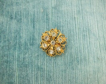Signed Hollywood Vintage Brooch/Gold tone/ Clear Rhinestones