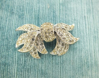 Vintage Signed Bow Brooch /Clear Rhinestones /Silver-tone Metal