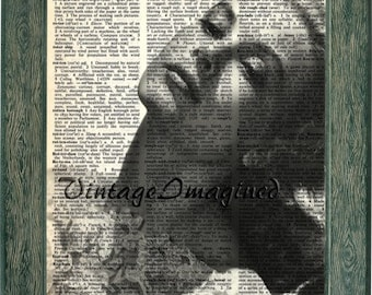 Grace Kelly print art on 8x10 upcycled dictionary page 8x10
