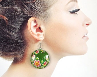 wedding green Earrings handmade wooden jewelry Folk art painting pink green Sister Gift ideas|for|women wood earrings flower girlfriend gift
