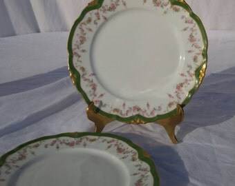 Set of two, green and gold Limoges salad plates