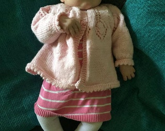 Classic hand knitted cardigan for baby girl up to 6 months/sunray pattern/yoke/picot edge