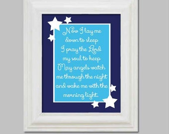 Now I Lay Me Down To Sleep Christening Baptism Gift for Child Baby Room Decor Blue and Navy Wall Art Nursery Child Prayer Digital Print