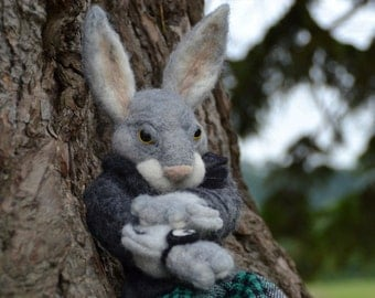 "Needle felted Rabbit ""Harvey, the rabbit in a hurry"""