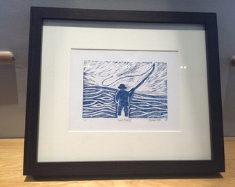 Gone Fishing Linocut Print Limited Edition