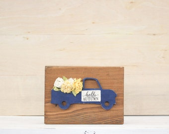 Fall Truck with Tattered Flowers | Bits & Blocks