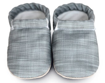 GRAY BABY shoes, gray linen vegan baby shoes, organic baby shoes, linen moccasins