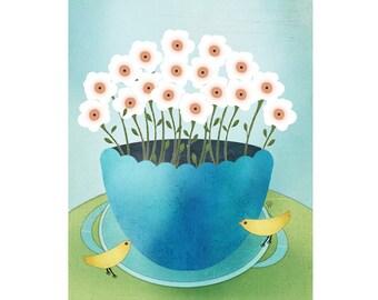 """Modern Folk Art Still Life Giclee Print – """"Yellow Bird"""""""